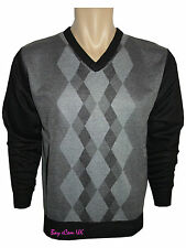 Men's Jumpers Check Diamond V Zip Neck Classic Full Sleeve Cardigan Top M to 2XL