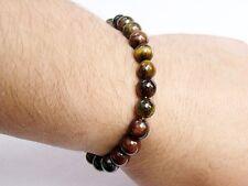 Men's Natural Gemstone Bracelet Tiger Eye 8mm beads stretchable elasticated