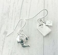 Silver Teapot & Teabag Earrings Plated Dangly Drop Teatime Shabby Chic Alice Odd