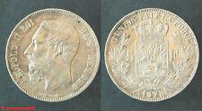 Belgique ! Ecu de 5 francs LEOPOLD II 1875 en SUPERBE