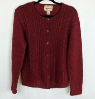 WOOLRICH Cayenne Red Wool Knit Stitch Button Up Crew Neck Cardigan Sweater sz.S