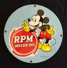 """VINTAGE RPM MOTOR OIL """"MICKEY MOUSE"""" 1939 HEAVY PORCELAIN GAS / OIL PUMP SIGN"""