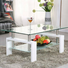 Rectangular Glass Coffee Table Modern Shelf Wood Living Room Furniture White