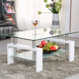 Rectangular Glass Coffee Table Modern Shelf Wood Living Room Furniture White