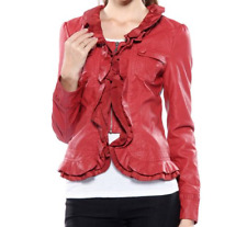 Caroline Morgan Jacket PLUS SIZE 16 Rust Red Frill Leather Look Waterfall BNWT