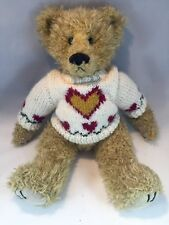 Ty Teddy Bear Light Brown Plush 1993 Articulated Knit Heart Sweater