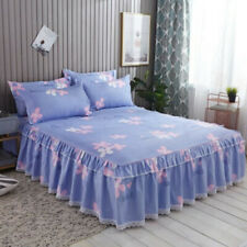 Lace Floral Bed Skirt Pillowcases Bedroom Bedding Full Queen King Bedspread
