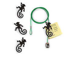 Monkey Green Cable Photo Holder with 4 Magnetic Black Monkeys by Kikkerland