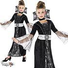 infantil niña OSCURO Condesa Vampiro Fiesta De Halloween Disfraz
