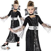 Enfant Fille Foncé Comtesse Vampire Fête Halloween Costume Déguisement