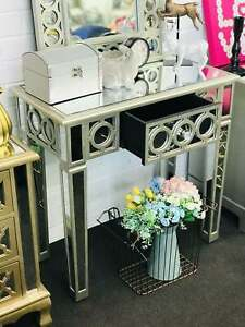 Presale-Brand New- Luxury Mirrored Console Table / Dressing Table Silver