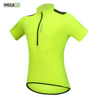 Mens Short Sleeve Cycling Jersey Half Zipper Breathable Quick Dry Bike Wear Tops