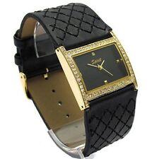 Designer Gold Plt Black Overstitched Leather Ladies Watch W/ Swarovski Crystals