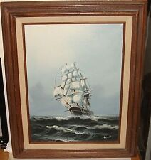 RONO SAILING SHIP ORIGINAL OIL ON CANVAS SEASCAPE PAINTING