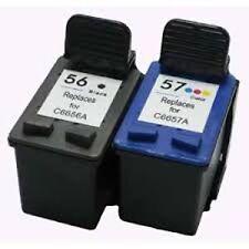 2x Compatible Ink Cartridges for HP 56 C6656A Black + HP 57 C6657A Color