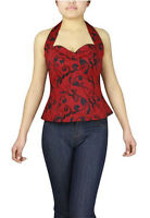 Plus Size Red and Black Printed Retro Rockabilly 50's Halter Top 1X 2X 3X 4X