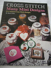 1981 32 Counted Cross Stitch Many Mini Designs Pattern Book Bear Duck Bus Tea