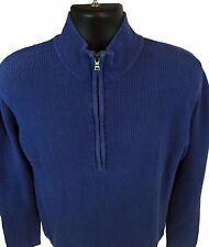 "Boys CALVIN KLEIN blue 10"" quarter zip mock neck ribbed pullover LS sweater sz L"