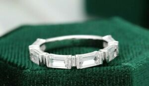 925 Sterling Silver 2.00 Ct Baguette Half Eternity Six Stone Wedding Band Ring
