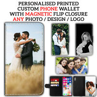 Personalised PHOTO Leather Flip CUSTOM WALLET Phone Case Cover Print For Phone