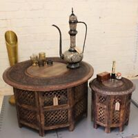 Chaliya Set of 2 Large And Small Round Coffee Tables Brown Solid Wooden Handmade