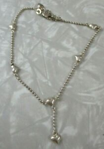 Silver heart anklet dangle Sterling silver adjustable as is has tangle on clasp