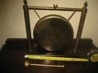 VINTAGE BRASS DINNER GONG, WOODEN STAND