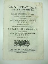 Confutazione della risposta data dal M. Ambrogio D'Oria