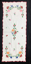 Vintage Hand Embroidered Hungarian Kalocsa-style Floral Table Runner 29X12