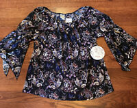 New Naif 3/4 Elastic Sleeve Floral Top Women's Size Large NWT