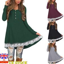 Women Long Sleeve Button Dress Loose Tops Ladies Autumn Lace Tunic Dress T Shirt