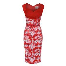 BNWT Lindy Bop | Vanessa Eiffel Floral Red Wiggle Dress | UK Size 6 | RRP £30