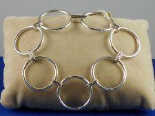 "Ralph Lauren Polished Silvertone 1"" Round Link Etched Connector Bracelet $54"