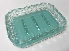 Soap Dish Diamond Pillow and Bubble Beads Design Vintage Pressed Glass Heavy