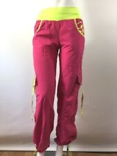 Zumba Cargo Pants S Roll Up Hot Pink Neon Yellow Stretch Waistband