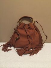 B Brian Atwood ''Everly'' Drawstring Fringe Leather Bucket Bag,  Color Saddle