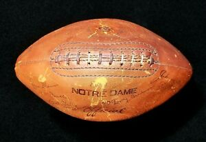 1954 Notre Dame Leather Football Signed  by 57 Players Paul Hornung Beckett LOA