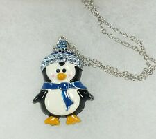 Nature's Jewelry Enameled Silverplate And Crystal Penguin Pendant