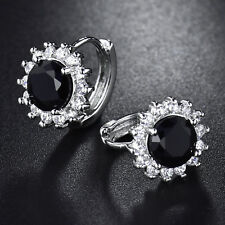 Flower Shape Huggie Black Crystal Silver Gold Filled Lady Banquet Party Earrings