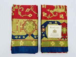 Ralph Lauren King Conservatory Red Pillowcases Set Egyptian Cotton Estate Rare