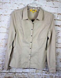 Women's 209 Wst Beige Long Sleeve Button Front Blouse Shirt Sz 12