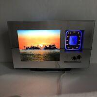 "Motion Mirror Clock Lamp Sunset Ocean Wave Sound 14"" Vtg Wall Hang Tabletop"