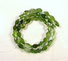 "Shaded GREEN TOURMALINE faceted lozenge beads AAA 8-9mm 14.5""strand"