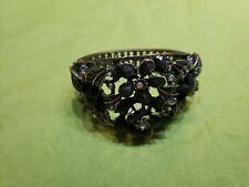 Clamper Bracelet Hinged Vintage Rhinestone Black Flowers
