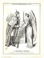 Angel of Peace seeks Russian Czar Nicholas II at his Coronation Punch Cartoon