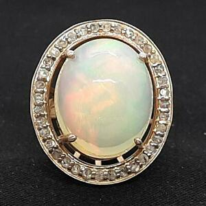 Antique 11.70ct Old Rose Cut Diamond & Opal 14K Rose Gold 925 Silver Ring Size 6