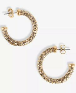 lucky brand earrings gold tone small pave c hoop post back closure new