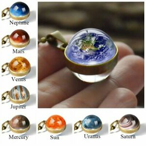 Luminous Solar System Planet Galaxy Double Side Glass Astronomy Pendant Necklace