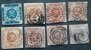 RARE 1851- Denmark lot of 8 Imperf Royal Emblem Postage stamps Used