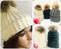 Diamante Winter Black Faux Fur Detachable Pom Pom Hat Bling Crystal Beanie Hat